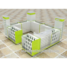 Original Lemon color cell phone kiosk , cell phone accessories store display showcase in mall for sale
