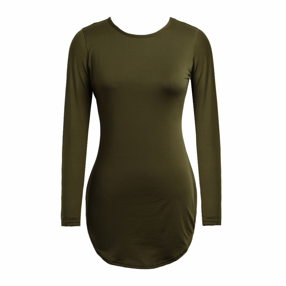 New Sexy Women Bodycon Long Sleeve T-shirt Dress Solid Color Irregular Hem Bandage Short Mini Dress Black/Army Green/Pink