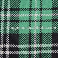 Green Plaid Yarn dyed Garment Woolen Fabric