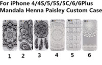Hot Sale Custom Mandala Henna Paisley Flower Pattern Back Cover Transparent Clear TPU Slim Case for iPhone 6 6Plus 5C 5S 4S