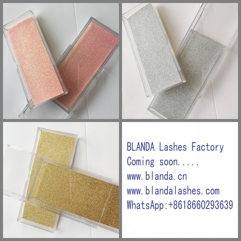 Custome Packaging Box False Eyelash Container Glitter Eyelashes Square Box 3D Mink Lashes Factory Price
