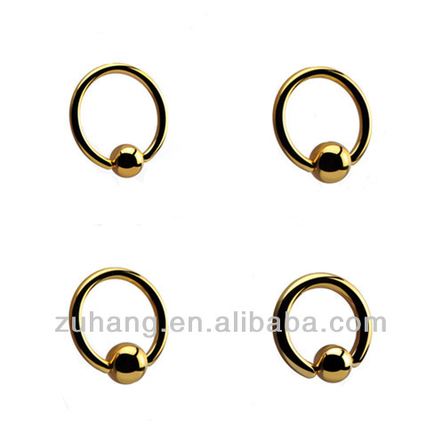 BCR Piercing Ring Jewelry Gold Plated Ball Closure Ring