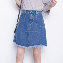 Fashionable High Waist Pack Hip Denim Skirt Women Summer Solid Color Large Pocket Hot Girls Short Skirt Korean Girls Short Skirt