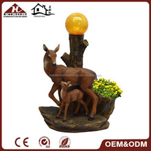 deer statue solar garden ball light with flower pot