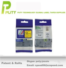 compatible laminated tz tape 12mm tz631, TZe631, black on yellow cartridge for p-touch