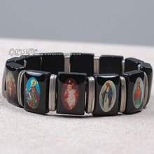 Elastic Holy Picture Wood Bracelet