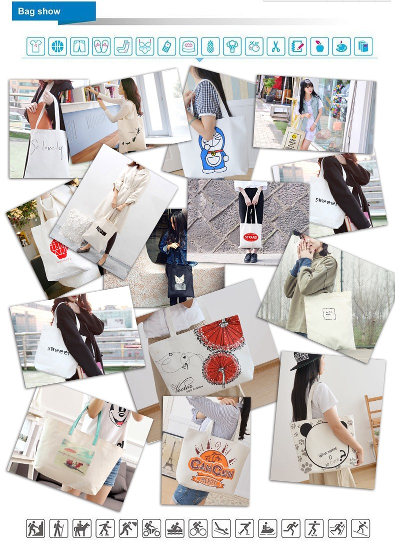 Alibaba Customized Travel Cotton Canvas Printed Rope Handle Beach Shopping Handbags