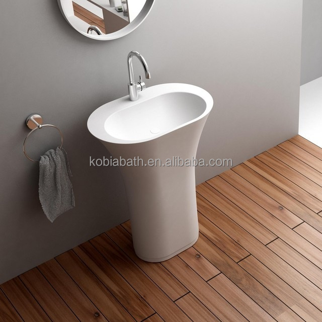 <strong>K</strong>-F06 bathroom floor mounted artificial Stone Sink bathroom resin stone sink bathroom stone wash basin