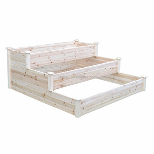 Wood planter 3 Tier bed Natural Wooden Raised Bed