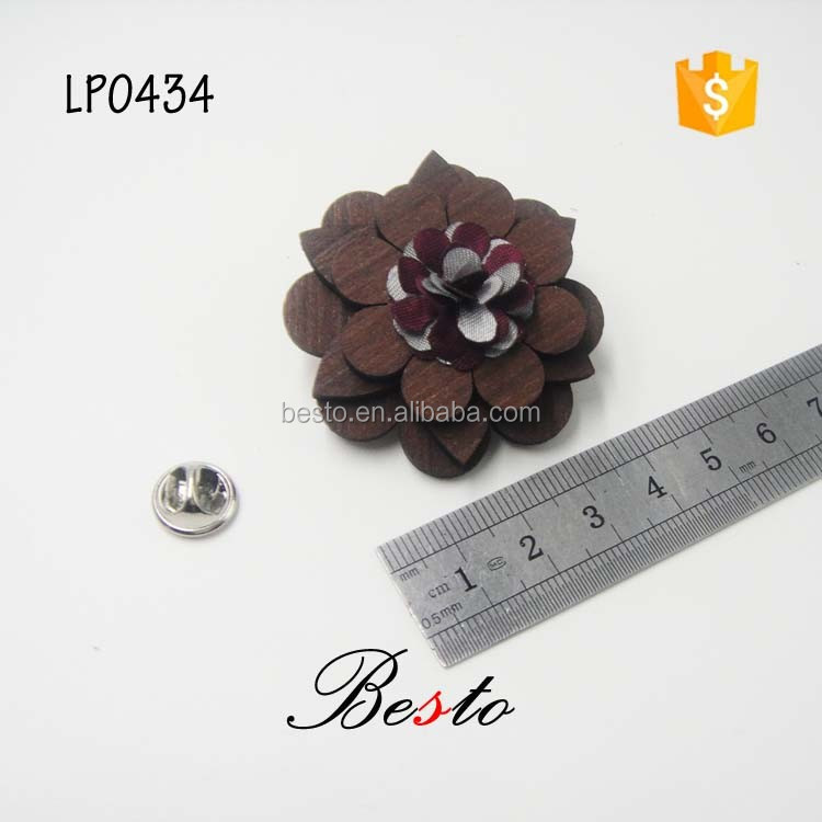 High quality fabrc flower center custom decorative stick pin wooden flower brooch for suits/dress/garments