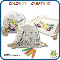 children creative paintable DIY coloring educational drawing cotton backpack