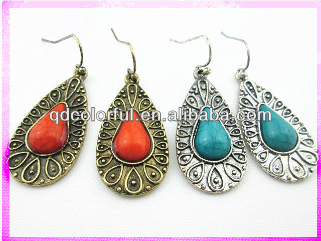 YE11487A antique gold silver textured gems waterdrop earrings thailand jewelry