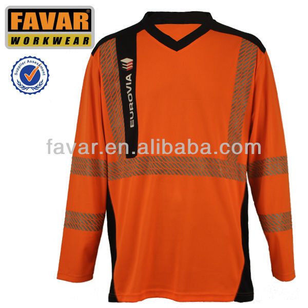 mens cotton V neck long sleeve shirt with reflective tape workwear garment