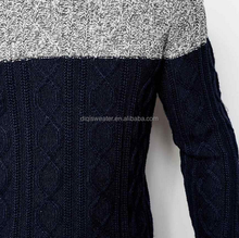 high quality pullover men fashion round neck sweater , Knit Colour Block Jumper