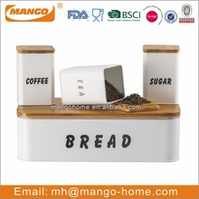 Colorful Metal bread bin biscuit tea coffee sugar canister set