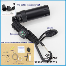 New Arrival Latest Design with Compass Whistle EDC Bottle Paracord Space Capsule Outdoor EDC Survival Kit