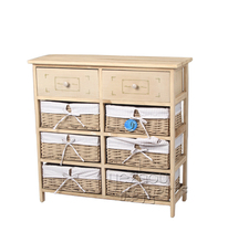 2015 new design hot selling antique paulownia wood cabinet with two corn husk cabinet wooden multi drawer