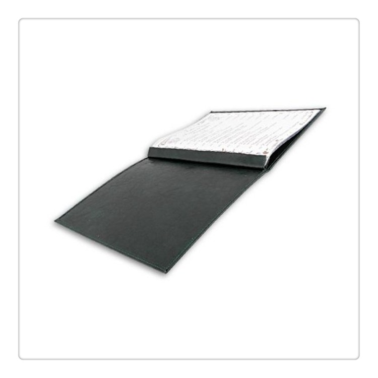 Dark green A4 Bolted Inside Eco-Friendly Leather Bound Menu Folder with 6 Transparent Sleeves for Restaurants/Cafe