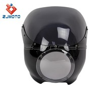 "ZJMOTO 5 3/4"" Motorcycle Headlight Fairing ABS Front Lamp Mask Fairing Cafe Racer Drag Racing 39mm Forks Cowl Fairing"