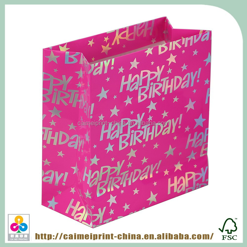 pink cheap paper shopping bags with your own logo