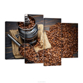 Coffee Poster on Canvas 4 Panels Coffee Beans Modern Canvas Prints Pictures for Bar Decoration/AL10272