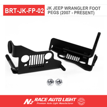 Off road after-market Parts NEW Grille Style Iron Front Foot Pegs for 07-17 Jeep Wrangler Black Pair