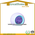 LCD display round seven color change alarm clock