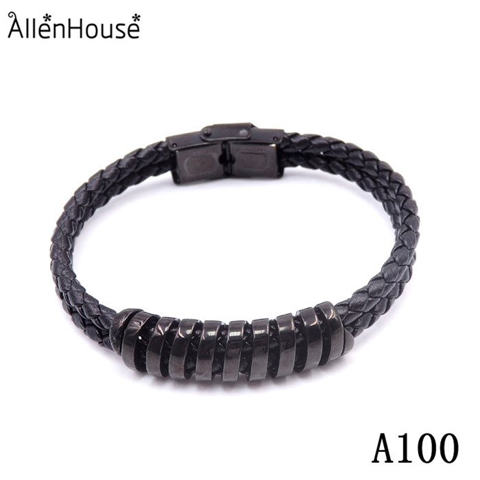 New Arrival Floating hollow spiral Charm 316L Stainless Steel Double Layer Endless Leather black Bracelet