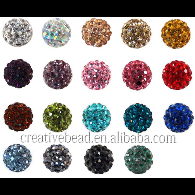 wholesale high quality fashion colorful shamballa rhinestone beads