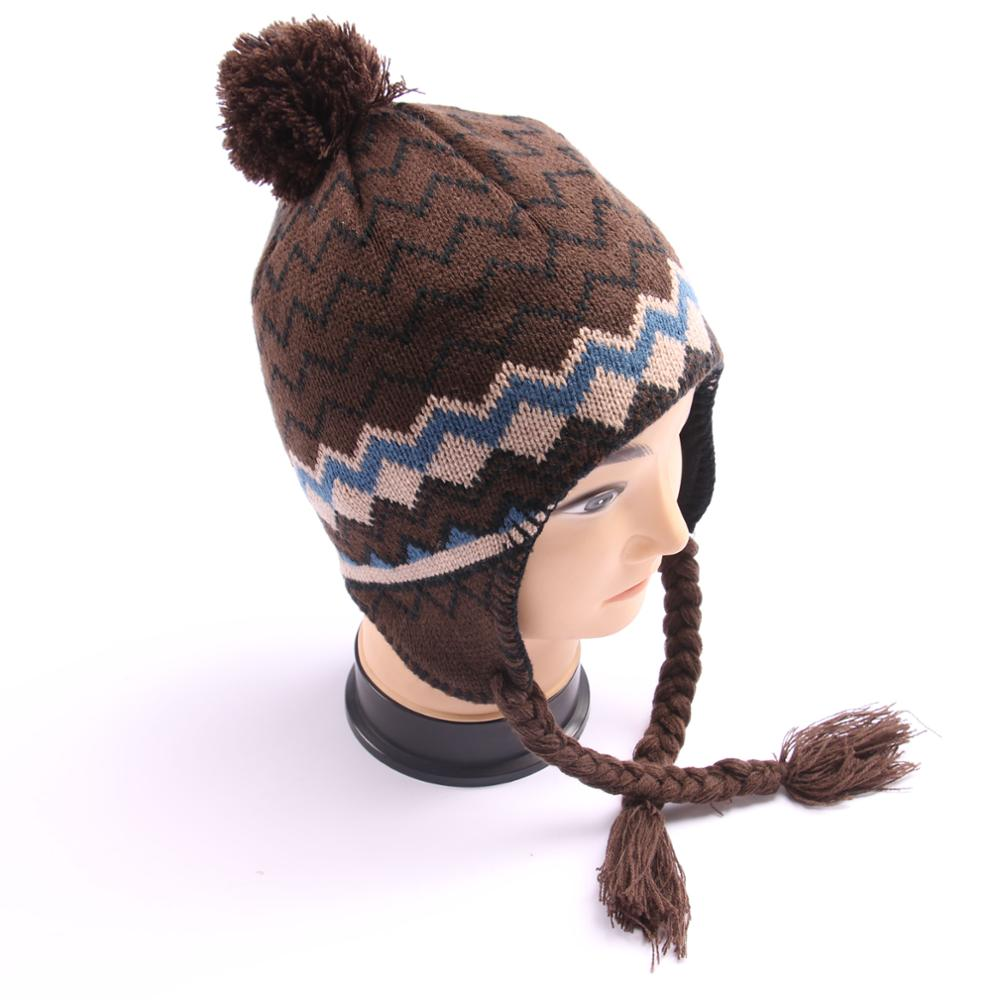 Hottest wholesale winter knitted jacquard earflap hat