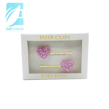 Evey decorative glitter heart hair bobby pins