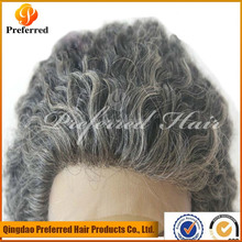 Natural curly grey hair lace front wig for old women