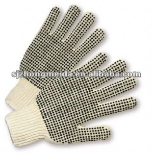 7gauge 4 thread cotton knit gloves with dots for bazil market