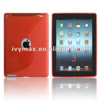 2012 hot seller red clear crystal tpu case skin cover for new ipad 3