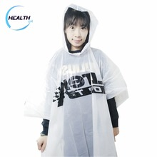 Disposable high quality printed clear plastic rain coat poncho