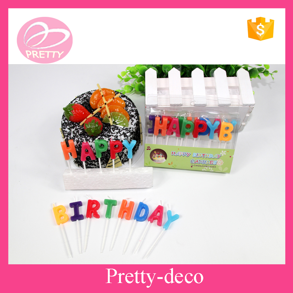 Best selling wholesale new stylish OEM colorful letter shape birthday candles