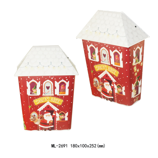 custom christmas house shaped metal gitf tin box for kids