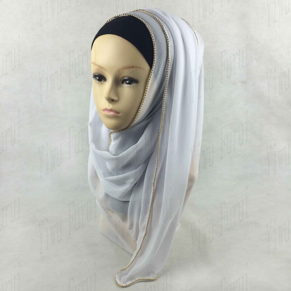 Classic chiffon hijab muslim long scarf islamic shawl wrap with metal zipper chain