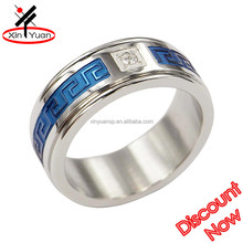 big crystal stainless steel blue color beautiful cheap wedding ring