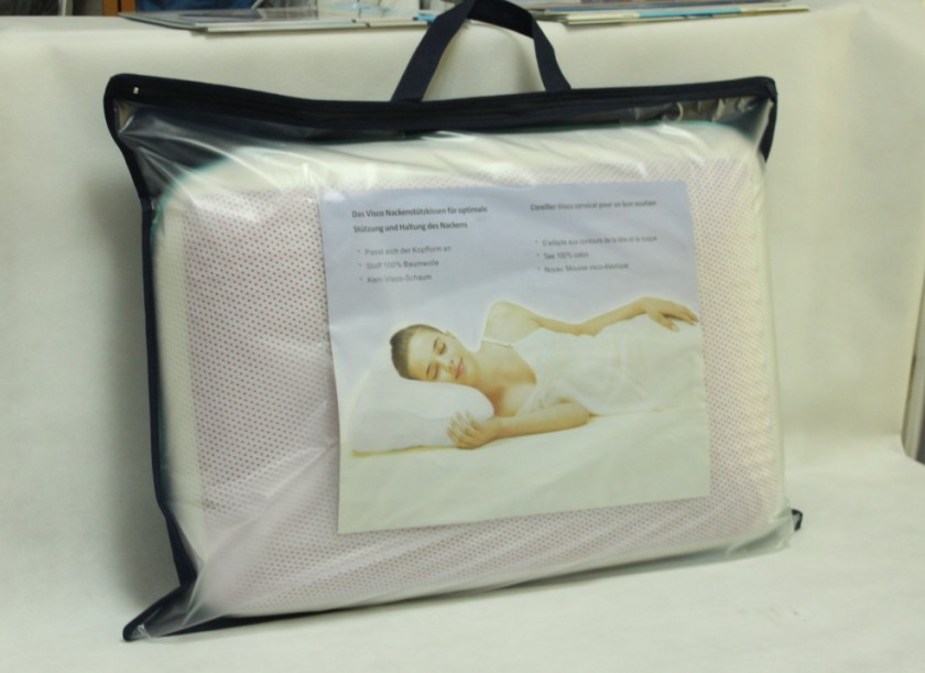 Non woven/PVC pillow bag packaging with handles