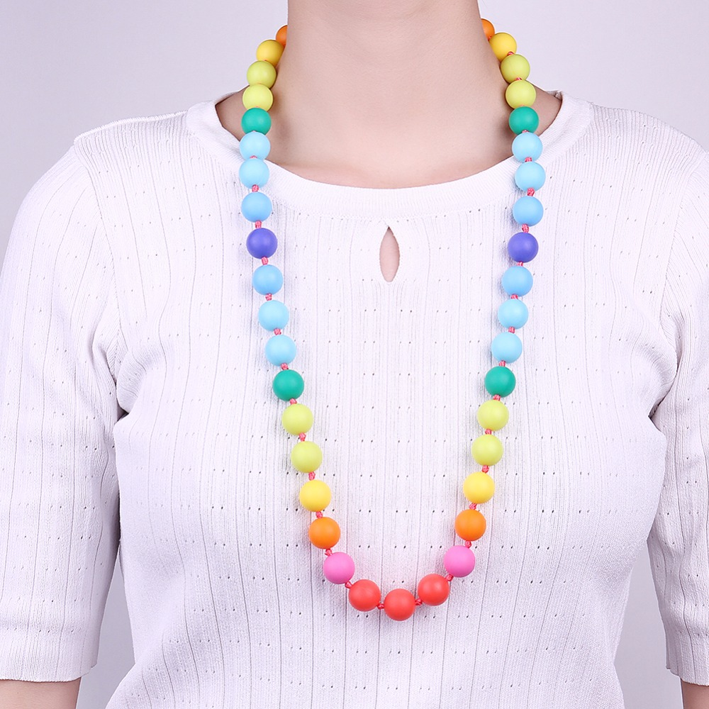 creative fashion baby mother long chain colourful bead necklace jewelry