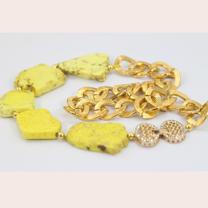 Gemsnorm jewelry fashion irregular high quality yellow turquoise beads jewellery with gold plated chain for women gift
