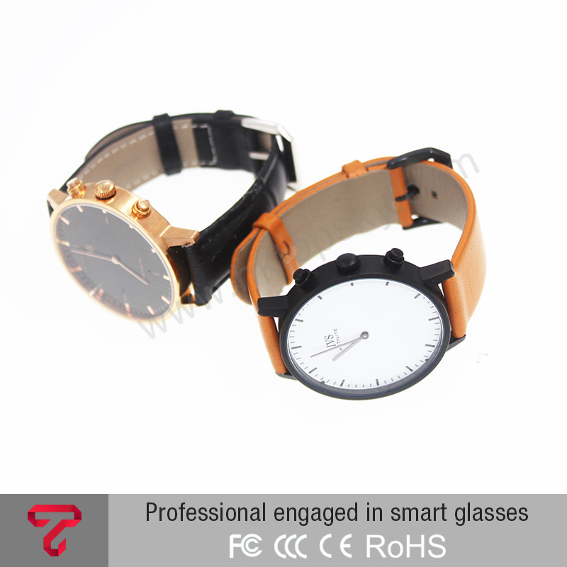 bluetooth android OS smart watch fashion style white with brown band