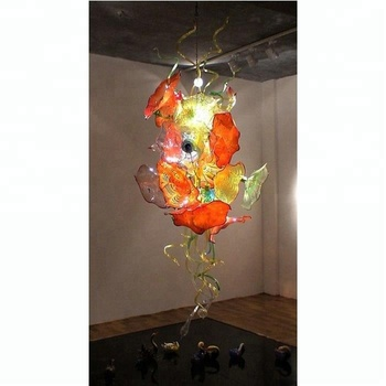 LED Light Source Murano glass plates Hand Blown Glass Modern Art Chandelier for Home Villa Decoration