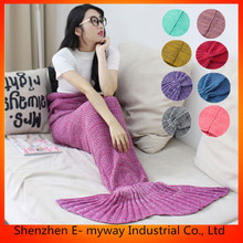 2018 Unique Design Adult Mermaid Tail Blanket For Hot Sale, Fashion Handmade Knitted Mermaid Tail Blankets