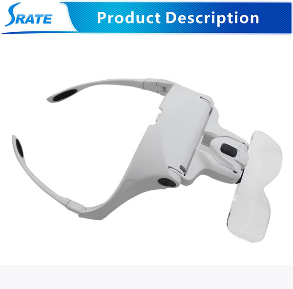 Handband and eyeglass shape magnifier No.9892B2 with LED and changeable lens