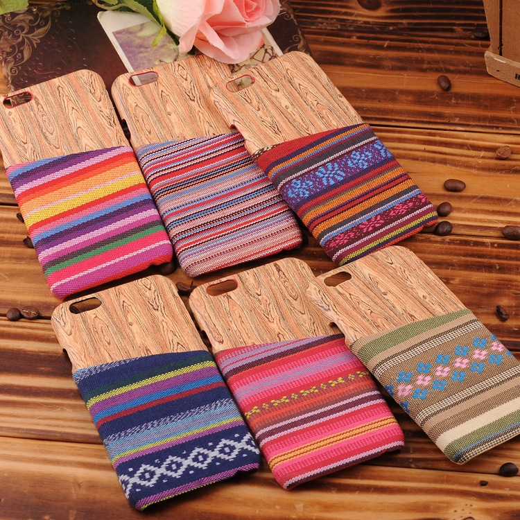 Luxury Mobile Phone Cases Tribal Style Cloth Card Slot Wood Grain PC Back Case for iPhone 6 4.7 inch