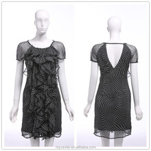 Black chiffon pleated boat neckline short sleeve different designs casual dresses, latest dress designs pictures