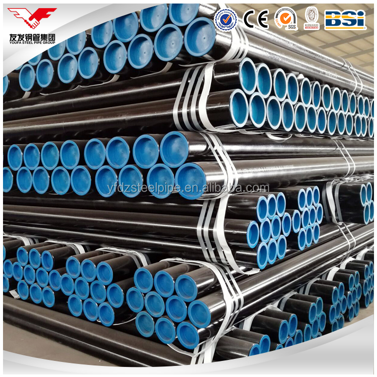 ASTM A106 GR.A/B seamless steel pipe with plastic caps for oil and gas line