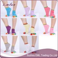 Five Finger antiskid cotton yoga socks with grips wholesale
